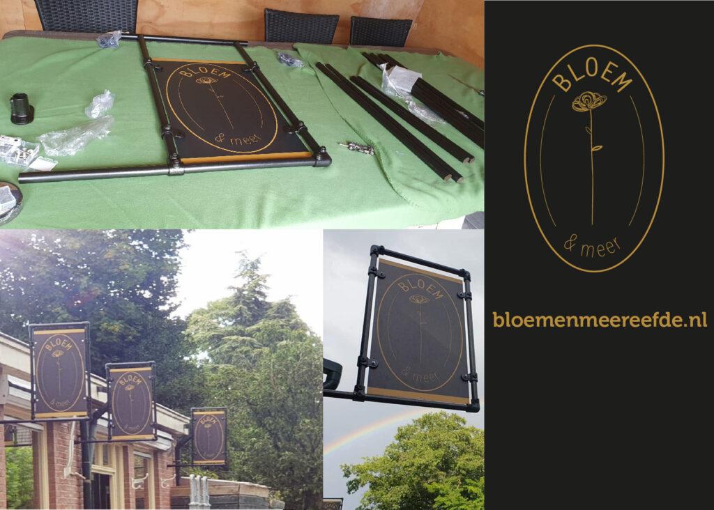 Projecten BLOEM&meer borden in stijgerbuizenframe ontwerpen, gemonteerd & geleverd